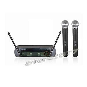 "2x Wireless Microphone Mic ""VHF"" Cordless DJ Karaoke professional System"