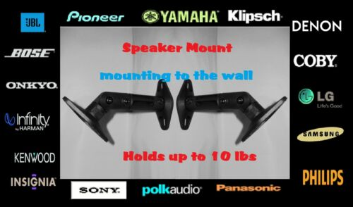 4 Pack New Full Motion Black Ceiling /& Wall Mounts Speaker Brackets Max 10 lbs