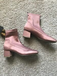 7b7e3ac5925 Details about NWT Forever 21 Satin Booties Shoes Heels Boots Size 6