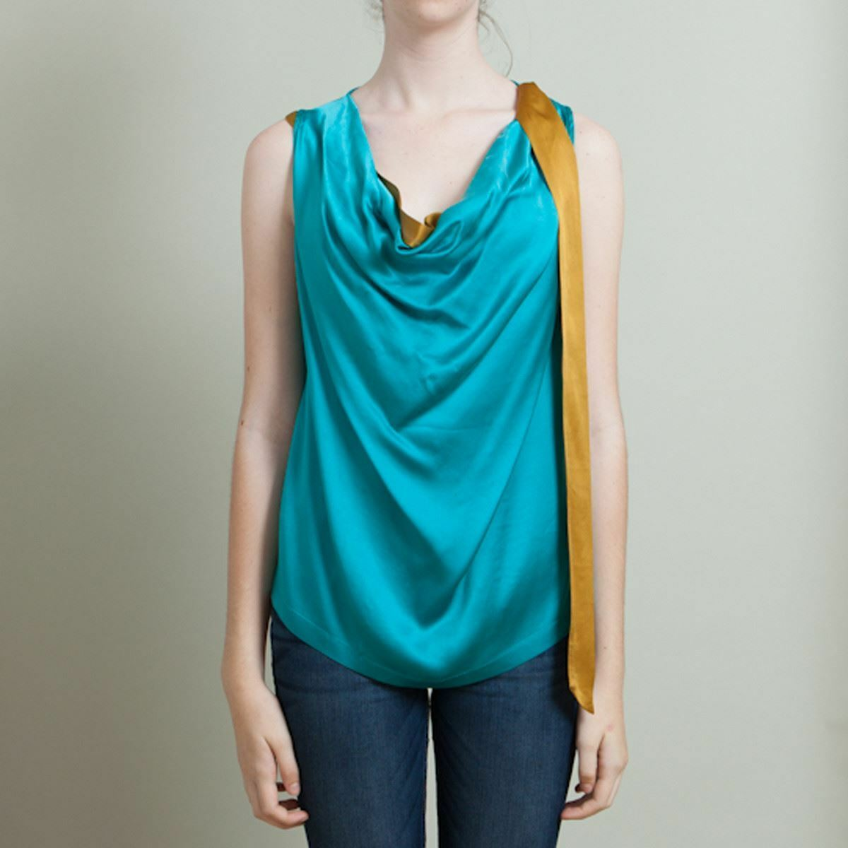 Dries Van Noten Teal bluee Silk Top - Size 42