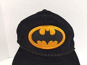 Vintage 1984 DC COMICS BATMAN Black Corduroy Adjustable Snapback Cap/Hat