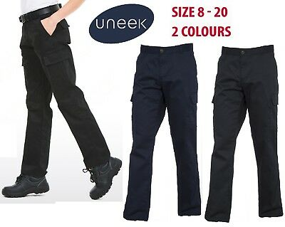 Womens Work Cargo Combat Trousers Workwear Pants Size 8 to 20 Black Navy UK NEW