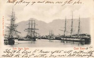 Vintage-1905-South-Africa-Postcard-Outer-Basin-Docks-Cape-Town-KB8