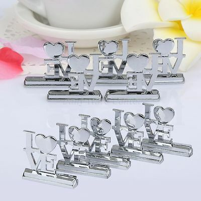 Set of 10 Love Word Wedding Party Table Place Name Cards Holder Stand Favor Gift