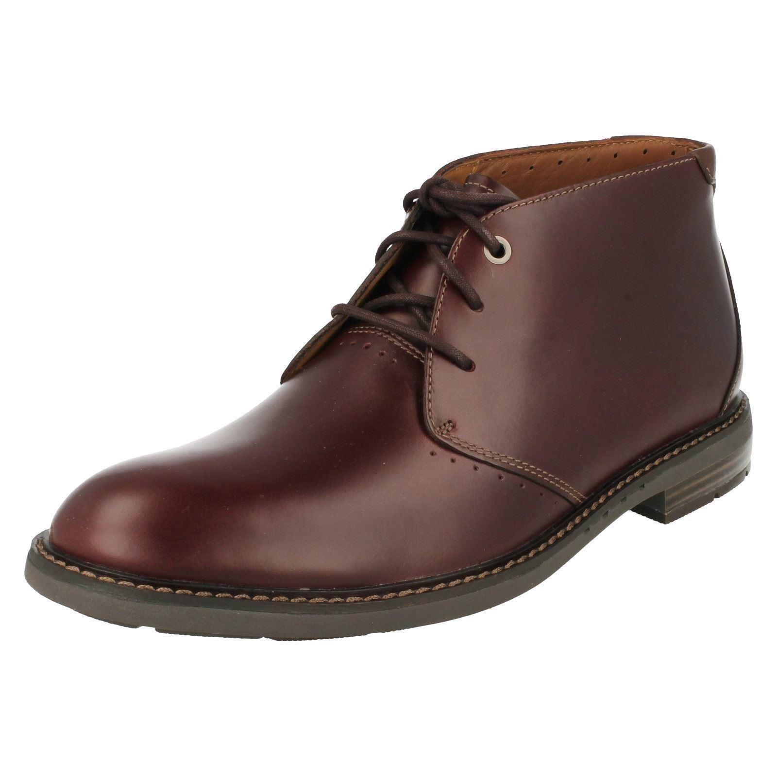 Men's Clarks Unstructured Unelott Mid Ankle Lace Boot Burgundy Leather 26120330