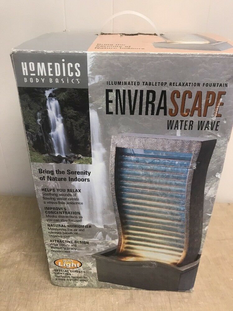 Homedics Envirascape Illuminated Relaxation Fountain Water Wave WFL-WAVE Rare