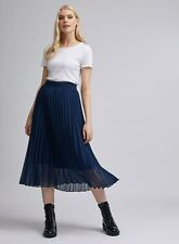 Dorothy Perkins Womens Blue Pleated Midi Skirt Casual Everyday Elegant Regular