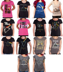 Pink-Floyd-womens-T-Shirt-Dark-Side-of-the-moon-band-logo-official-skinny-fit