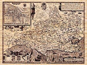 MAP-ANTIQUE-1610-SPEED-DORSET-HUNDREDS-DORCHESTER-REPLICA-POSTER-PRINT-PAM1611