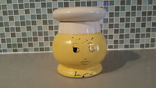 Vintage Yellow Happy Face Cookie Jar Canister with White Chef Hat Ceramic Jar