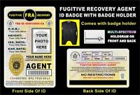 Fugitive Recovery Agent Id Badge >custom With Your Photo & Info< Holographic