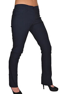 NEW-1415-2-School-Work-Office-Stretch-Straight-Leg-Trousers-Navy-Blue-6-18