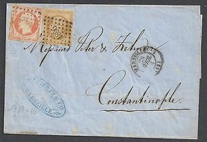 France 1858 10c+40c franked folded letter to Constantinople