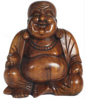Happy Buddha Sculpture Figure 30cm Carving Suar Wood Hand Carved