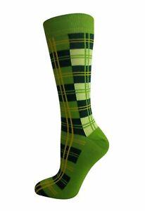 MENS-LIME-GREEN-TARTAN-IRISH-CELTIC-FAN-MATCH-DAY-LUCKY-ANKLE-SOCKS