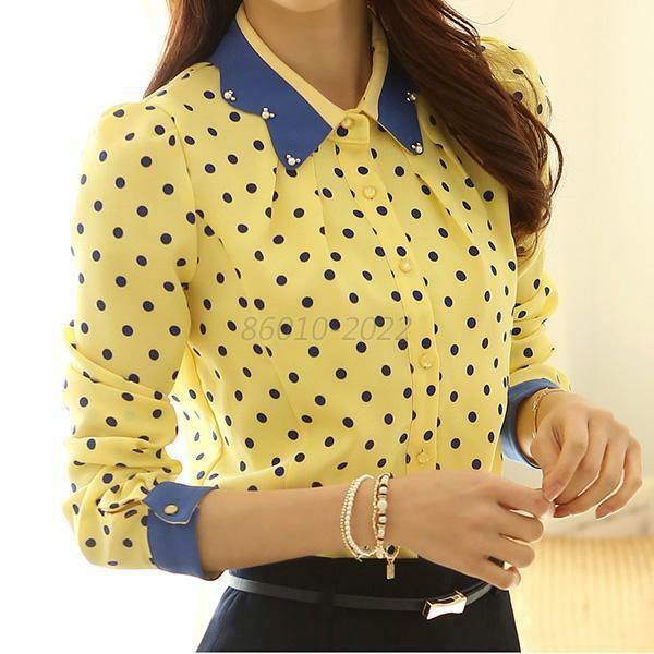 Women Chiffon Lapel Button Down Polka Dot Blouse T-Shirt Tops Size S M L XL B54
