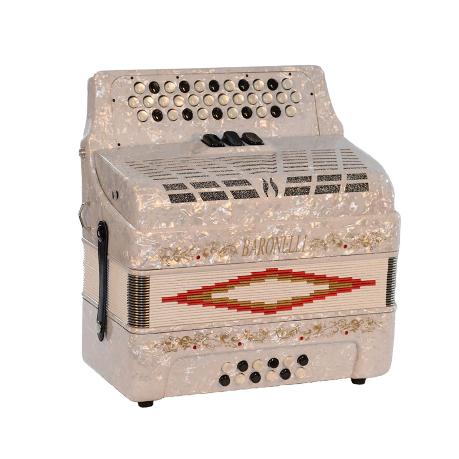 Baronelli 34 Button Accordion 12 Bass, 3 Switch, FBE, With Staps And Case, Weiß