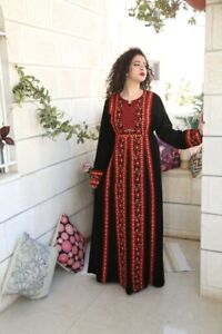 Embroidered-Thobe-Abaya-Traditional-Palestinian-Thob-caftan-Dress-all-Sizes