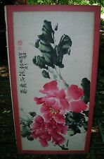 Qi Baishi?? Antique Chinese Water Color Scroll Painting of Peonies