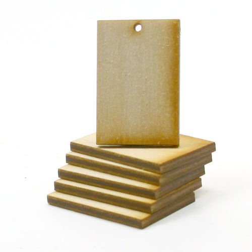 Rectangle - 1-1/2 x 1 x 1/8 inch with 1 2mm hole unfinished wood (RTSQ04h1)