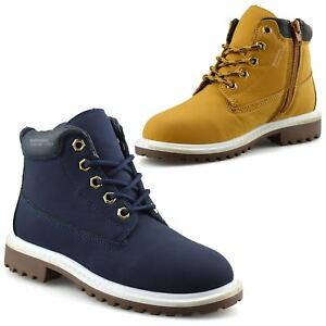 Boys-Kids-New-Casual-Zip-Lace-Up-Winter-Walking-Ankle-Boots-Trainers-Shoes-Size