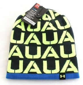 d9642cffb58 Under Armour Reversible Red   Black 4-in-1 Graphic Knit Beanie Youth ...
