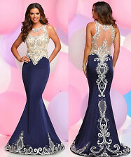 2017 Sleeveless Mermaid Party Prom Dresses Lace Formal Pageant Evening Gown 2 4+