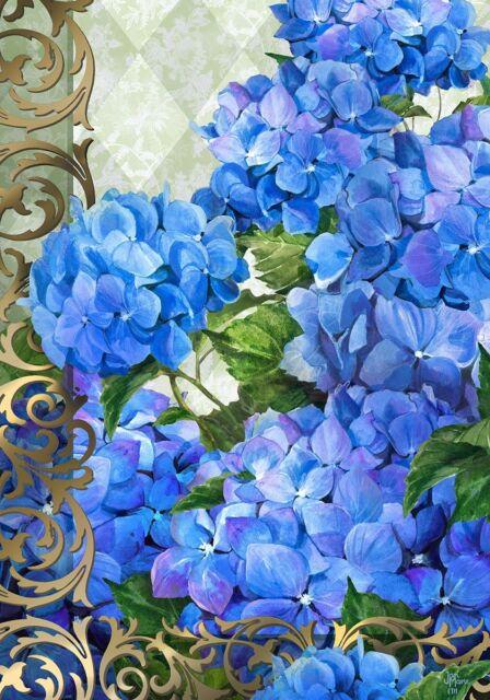 "Blue Hydrangea Flower House Flag Large 40"" x 28"""