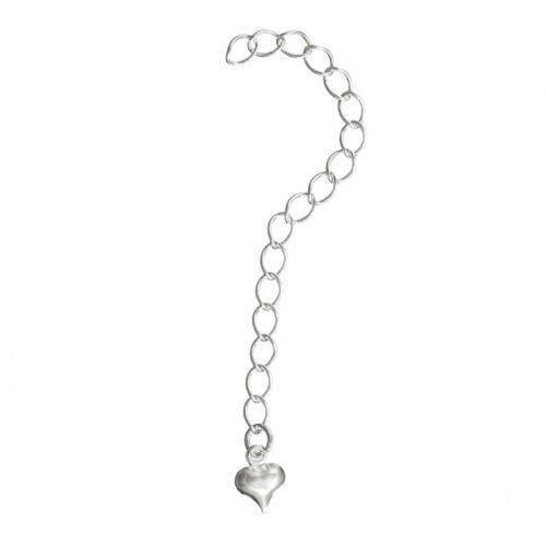 extensión con 6 mm encanto del corazón approx. 6.35 cm Cadena De Plata Chapado 2.5 in C61//6