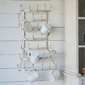 Details About White Metal Wall Mounted Mug Holder Rack With 36 Hooks Coffee Tea Cup Hanger