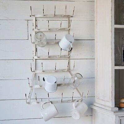 White Metal Wall Mounted Mug Holder Rack with 36 Hooks Coffee Tea Cup Hanger