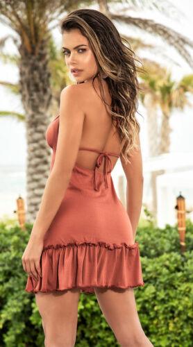 Mapale V Neck Sun Beach Halter Mini Dress w// Ruffled Hem 4645