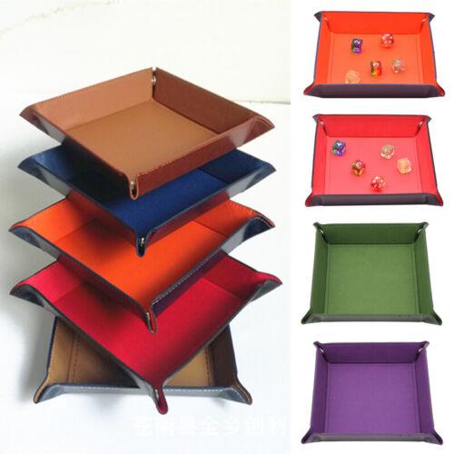 Desktop Foldable Dice Plate Square Tray PU Leather Storage Box Decorative