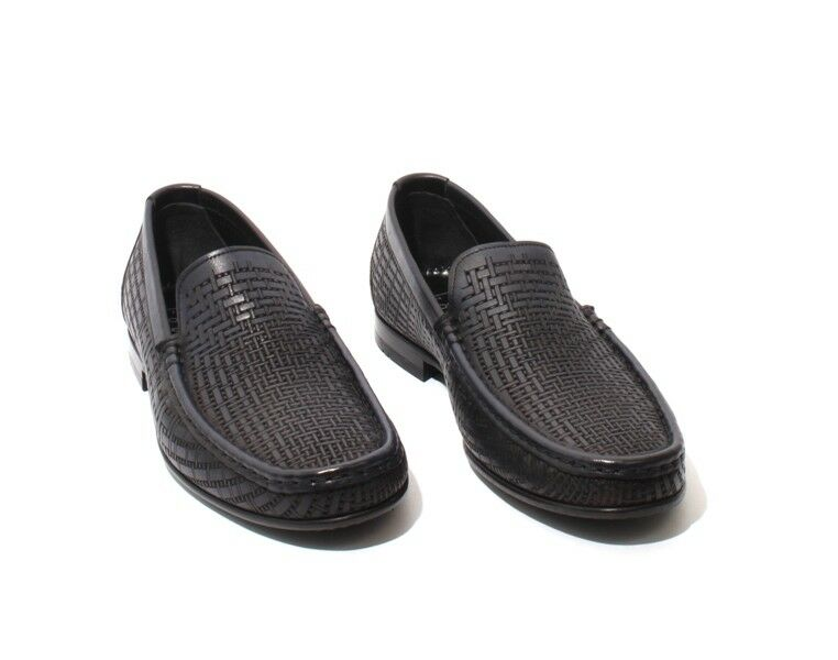 ROBERTO SERPENTINI 17272 Navy Brown Perforated Pelle 42 Loafers Shoes 42 Pelle / US 9 a3a10c