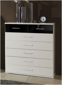 Berlin 5+2 Chest Of Drawers German High Gloss Black and White ...
