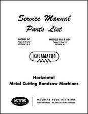 Kalamazoo Service Amp Parts Manual Model 816 824 Amp 8c Saw
