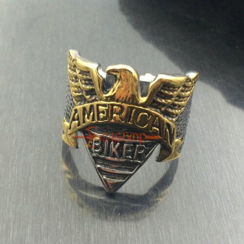 Argent//or en acier inoxydable american biker aigle moto ring USA Taille 7-15