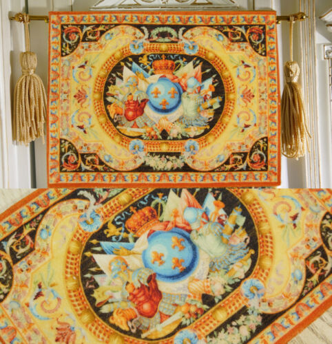 Color Combination Golden 1//12 Dollhouse Aubusson Tapestry French Swirls