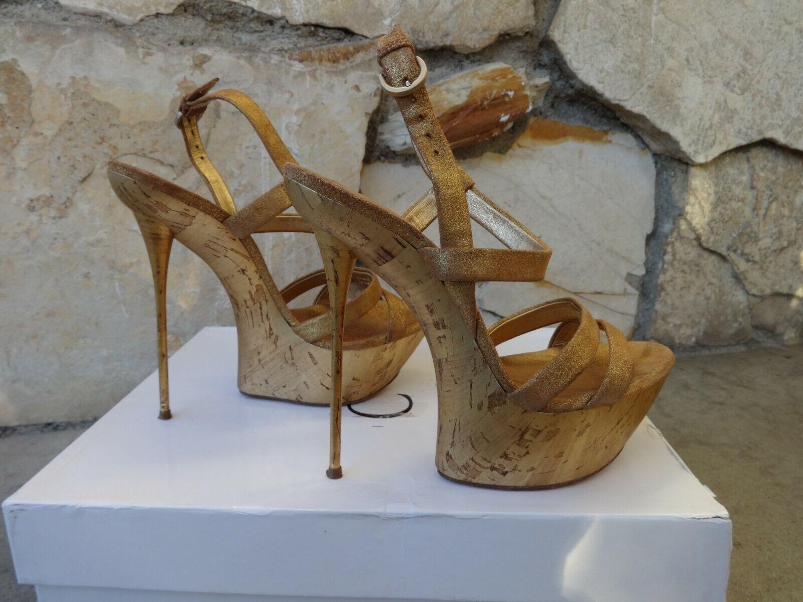 Casadei Skyhigh Skyhigh Skyhigh Metal Heel Ankle Strap Platform Sandals pink gold EU size 8 47b1ea