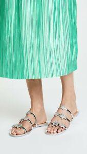 Guiseppe Zanotti Metallic Silver Embellished Star Flat Sandals sz 7-8