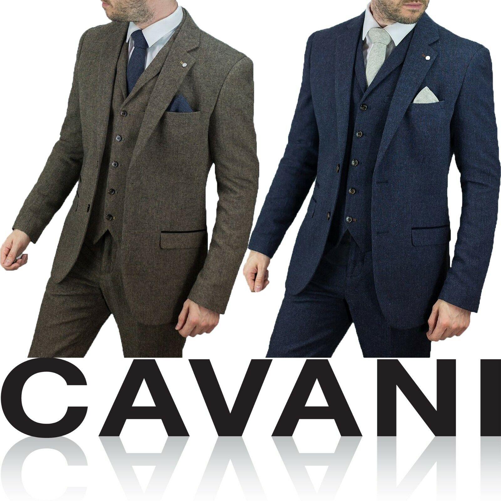 b78c2021 Mens Wool Tweed Peaky Blinders Wedding 3 Piece Suit Tailored Fit Herringbone