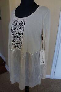 41398e68b5 NEW 4 Love & Liberty Johnny Was Crochet Sequin Long Sleeve Tunic Top ...