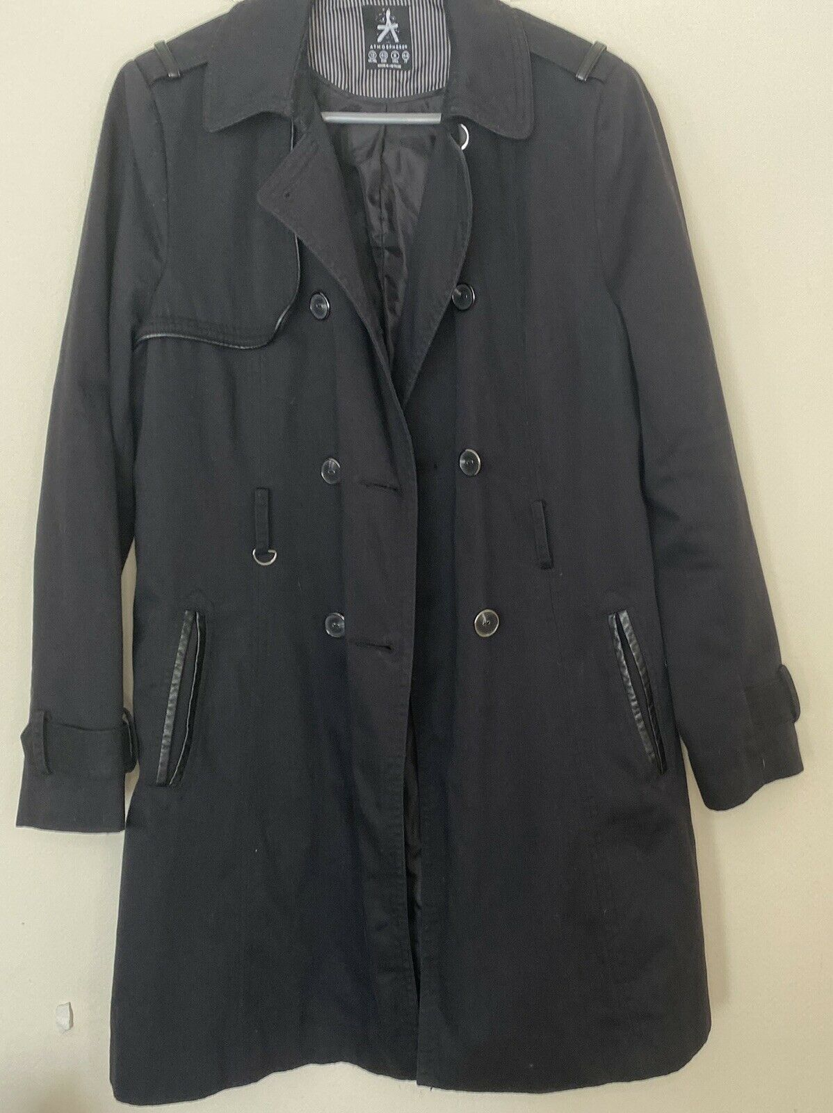 Atmosphere Womens Black Trench Coat Size 12