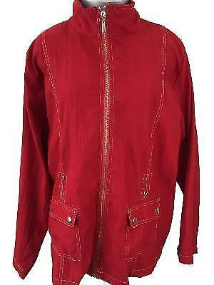Bonworth jacket size M medium red windbreaker full zip 2 snap pockets polyester