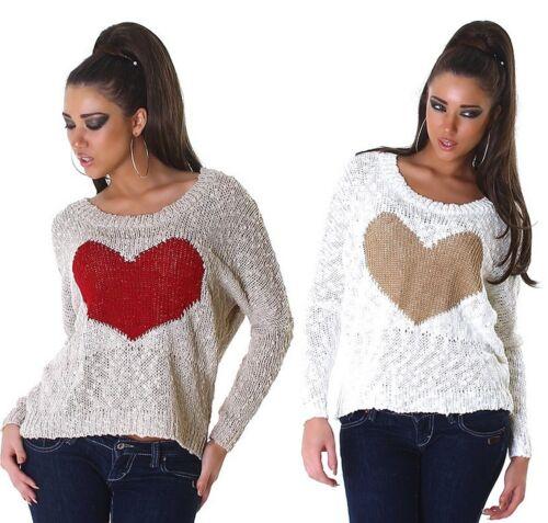Oversize femmes pull avec cœur paillettes Heart Love mailles Boucle Optique 5137