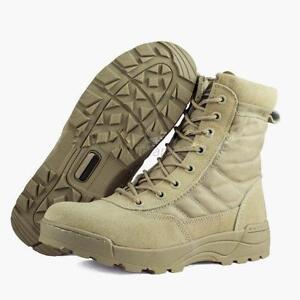 Side Zip Suede Leather Combat Work Outdoor Shoes Men