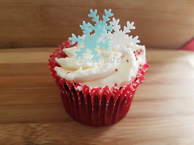 38 Edible White Snowflake Collection Pre Cut Wafer Cupcake Toppers Novelty