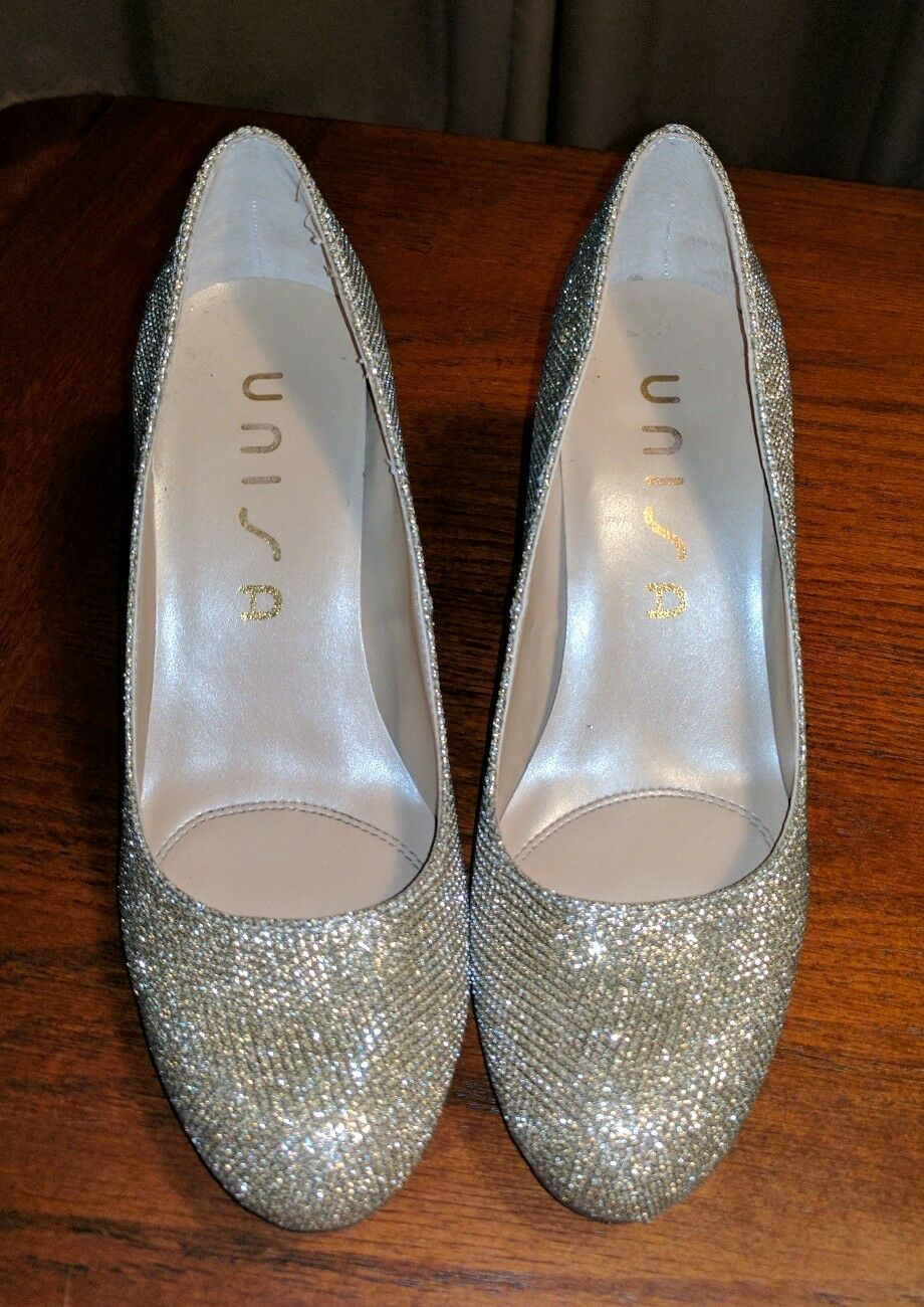 UNISA GOLD SILVER MESH METALLIC HIGH HEELS CLASSIC PUMPS RETRO HOLIDAY 5.5 M