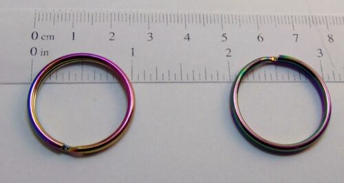 "25 Duochrome Iridescent Split Rings 25mm 1/"" diameter Shimmery Rainbow Color"
