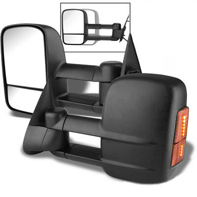 PAIR BLACK SIDE TOWING MIRROR MANUAL ADJUSTMENT+LED FOR 99-06 SILVERADO//SIERRA